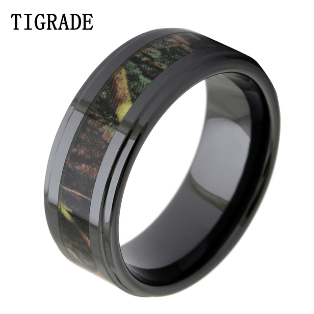 tigrade luxruy 8mm black ceramic ring men vintage green branches camo inlay wedding band engagement rings men fashion jewelry - Camo Wedding Rings For Men