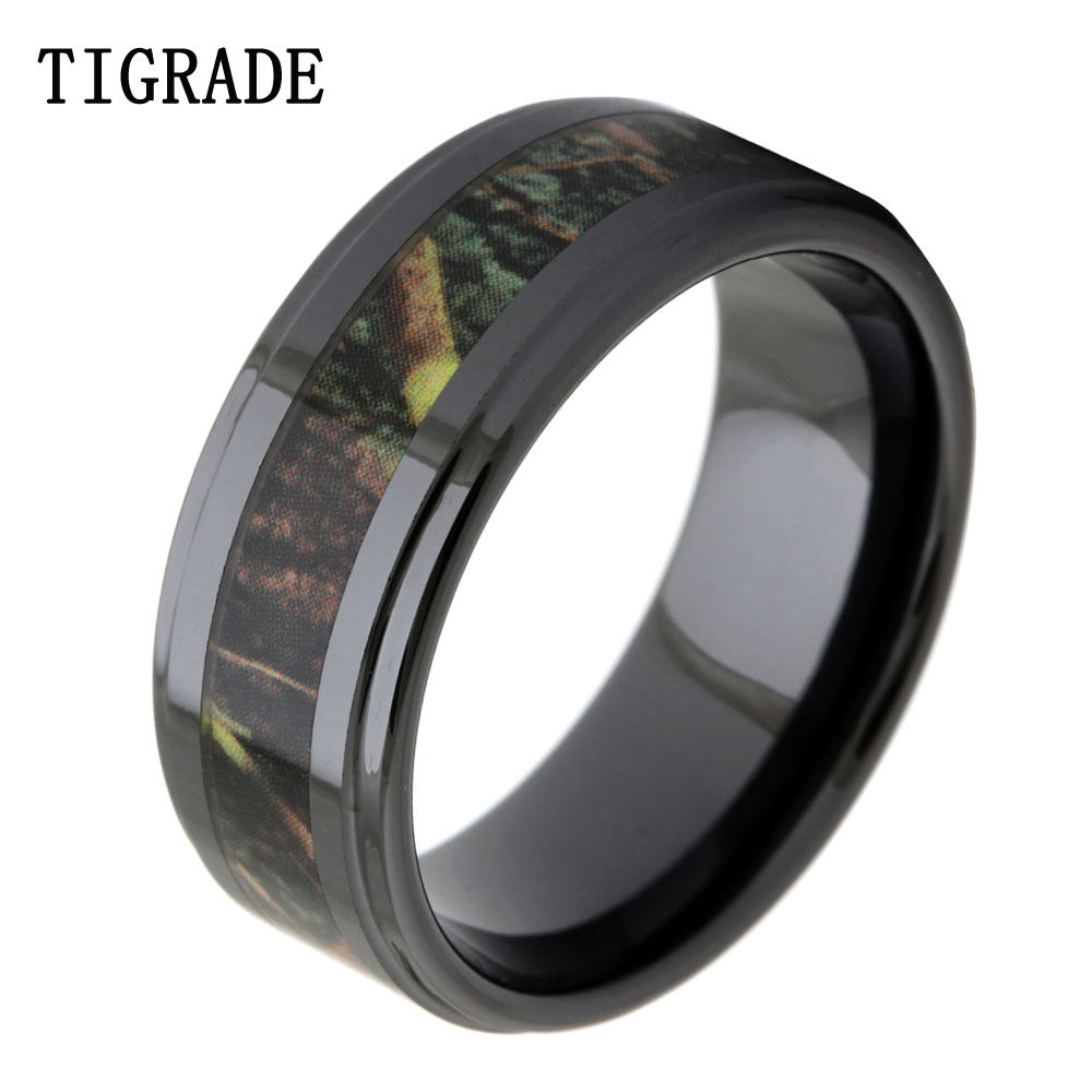 TIGRADE Luxruy 8mm Black Ceramic Ring Men Vintage Green Branches Camo Inlay Wedding Band Engagement Rings Men Fashion Jewelry
