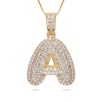 Initial Bubble Letter Pendant Necklace Custom alphabet CZ Woman Man Rhinestone Hip Hop Necklaces Jewelry Gift zk40