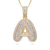 Initial Bubble Letter Pendant Necklace Custom alphabet CZ Woman Man Rhinestone Hip Hop Necklaces Jewelry Gift zk40