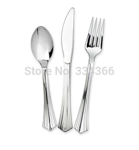 300db / tétel Eldobható műanyag esküvői evőeszközkészlet - Konyha, étkező és bár - Fénykép 1