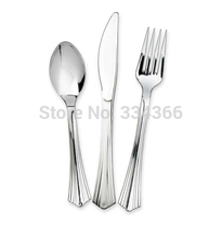 300pcs/lot Disposable Plastic Wedding Cutlery Set 100Knives/100Forks/100Spoons/Flatware Sets Tableware As Silver FreeShipping
