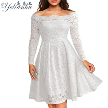 YELIANHU 2017 Women Summer Embroidery Sexy Lace Off Shoulder Dress Long Sleeve Casual Evening Party A Line Plus size Dress 5JQ91