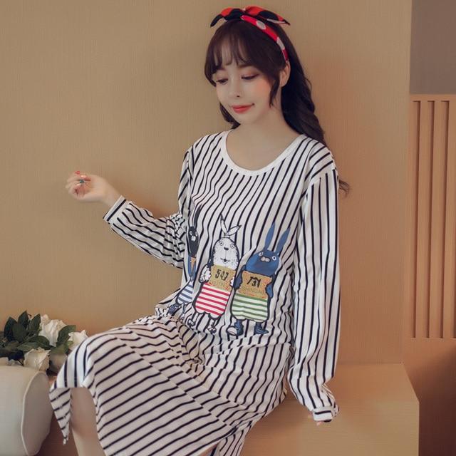 37110a1a16 Hot Sale 2017 Autumn winter Women s Long cartoon Pijamas women causal  printing Sleepwear Cotton Ladies Nightgown Sleep
