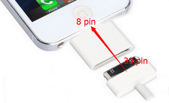 imágenes para Comercio al por mayor 300 unids/lote 30 pin a 8 pin adaptador para iphone 5 5S 5C 6 6 Plus 7 7 plus Soporte iOS9.3.2 10 10. x. x convertidor adaptador