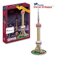 La tierra inteligente y feliz modelo 3d rompecabezas de La Torre de la Perla Oriental adultos juguetes educativos rompecabezas diy Iotion regalo de cumpleaños personalizada