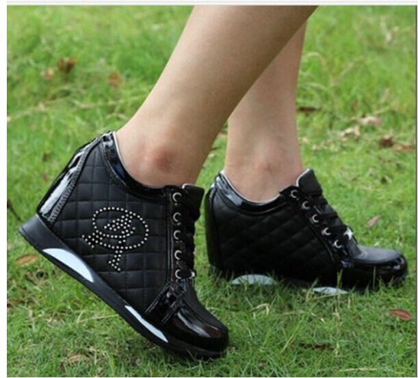 fc6fd3a5c545 Hot Sales new 2013 Autumn Black White Hidden Wedge Heels Casual shoes  Women s Elevator High heels for Women Rhinestone-in Men s Casual Shoes from  Shoes on ...