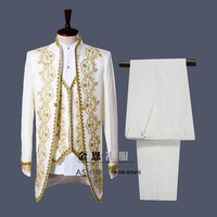 Palace style Gold white embroidery men Tuxedos Classic Groomsmen Men Wedding Suit(Jacket+Pants+vest) white black actual pictures