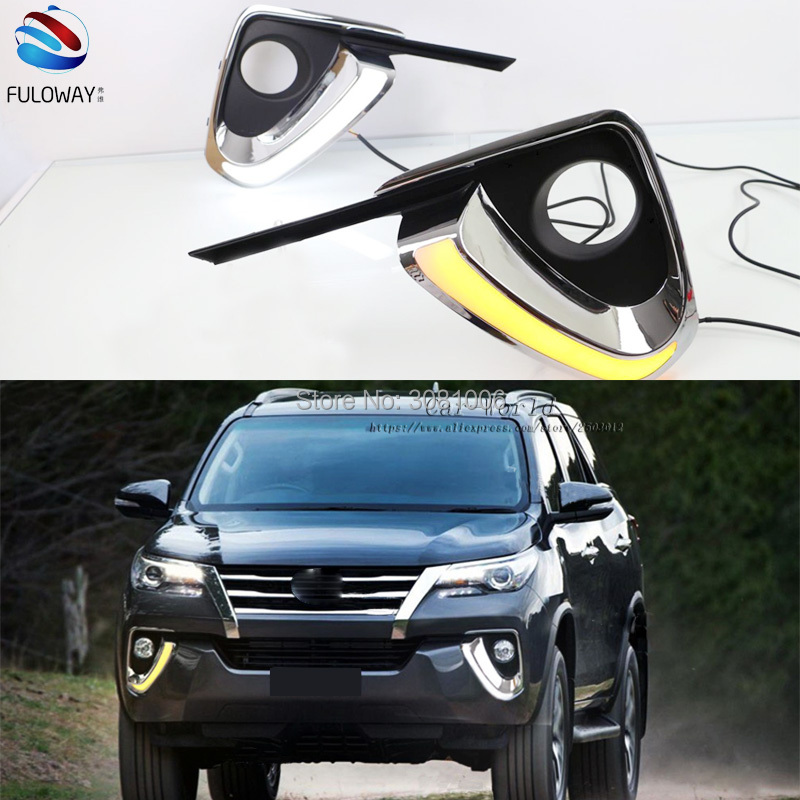 LED DRL Daytime Running Lights Fog Lamp Case For Toyota Fortuner 15-17 External Day Light DRL Accessories White 12V Car-styling leadtops led daytime running light 2pcs 100% cob chip led diy drl fog car lights car day lamp 12v for audi vw toyota mazda be
