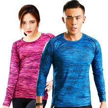 Outdoor long sleeved dry clothes, sports thin and breathable, loose fitness summer couple fast t-shirts