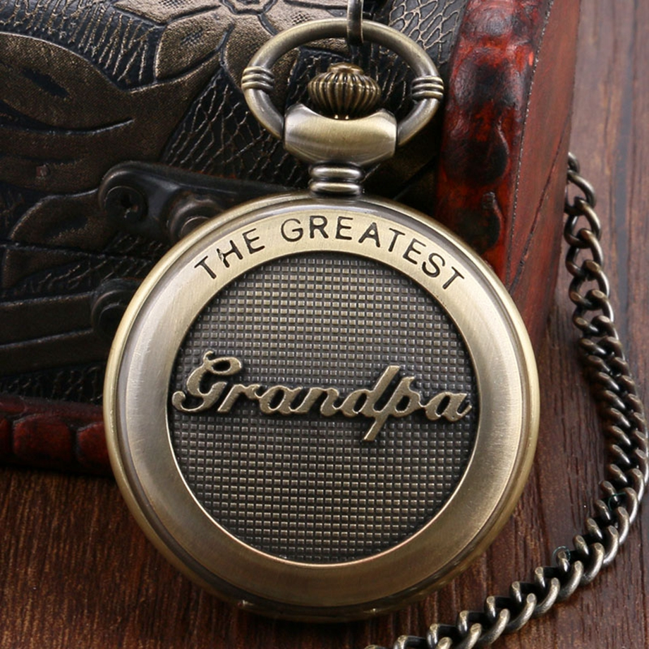 Retro Antique Bronze Pocket Watch 3D The Greatest Grandpa Script Thanksgiving Creative Fob Gift for Women Men my grandpa