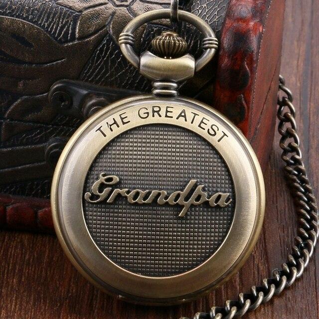 Retro Antique Bronze Pocket Watch 3D The Greatest Grandpa Script Thanksgiving Cr