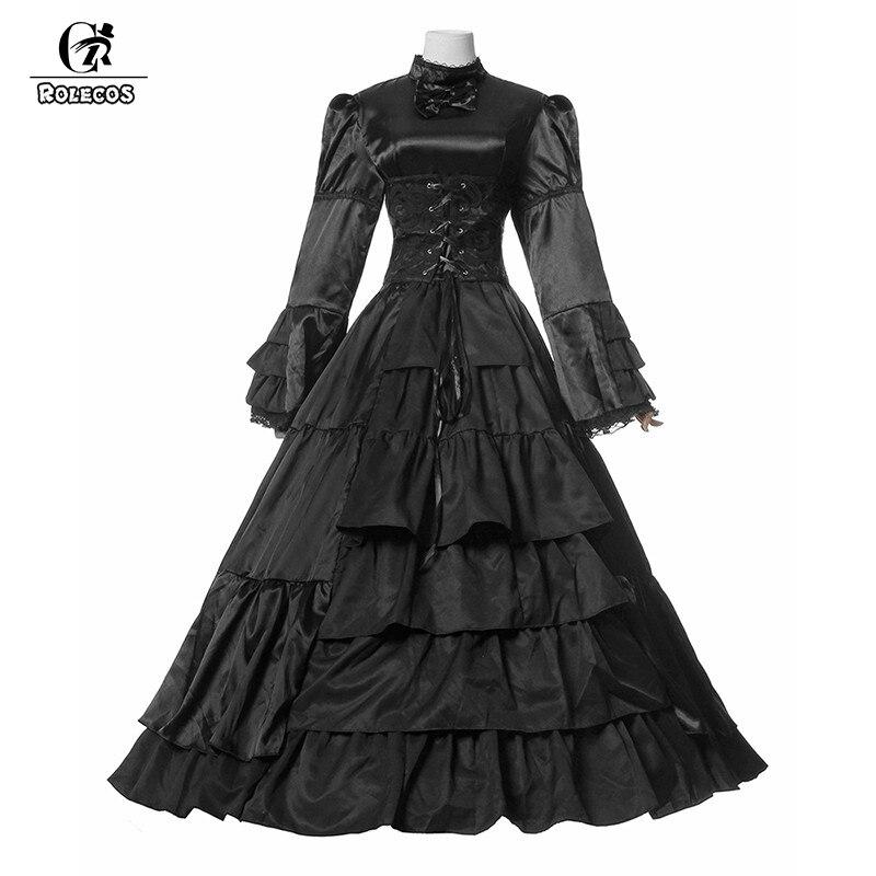 ROLECOS nouvelle robe longue noire en coton et popeline gothique princesse Costumes Lolita Vintage robes victoriennes pour fille