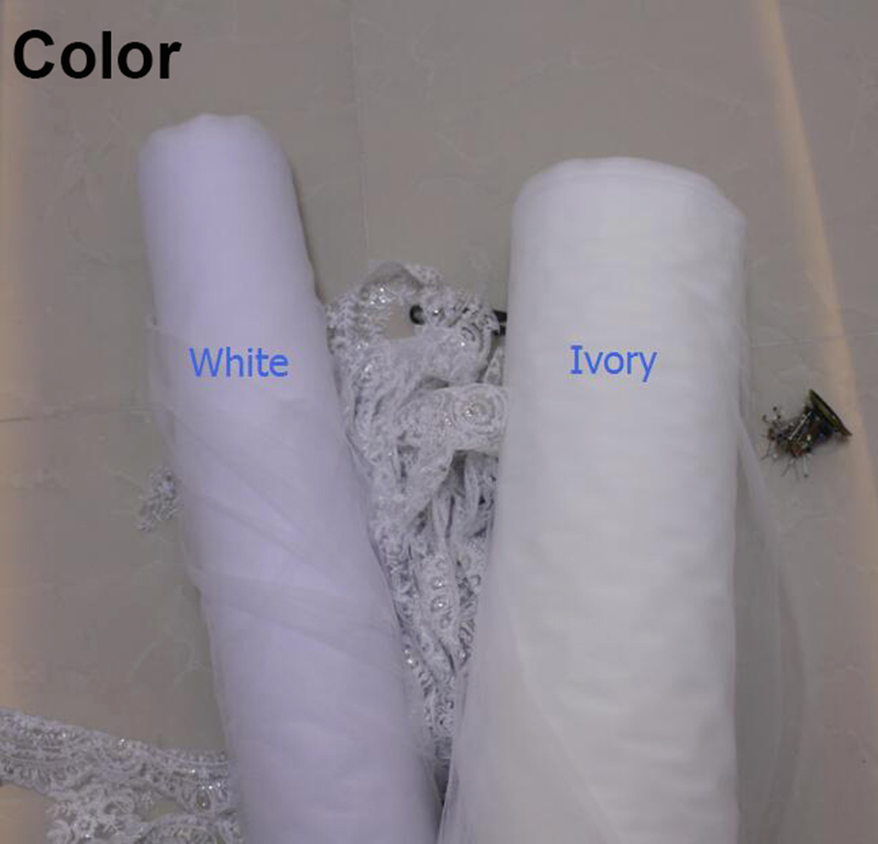 2019 Real Photos Short Red Lace One Layer White Ivory Tulle Wedding Veil with Comb Bling Sequins Lace Bridal Veil Boile Mariage