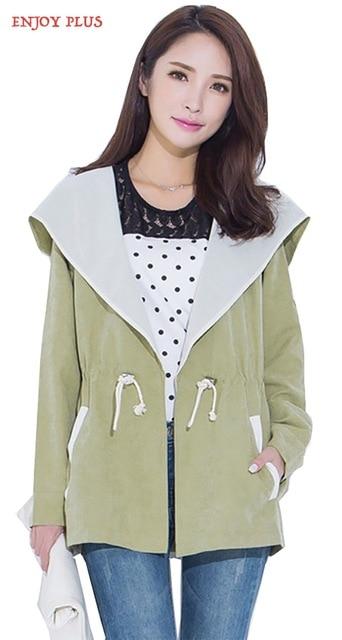 ENJOY PLUS 8%OFF chest 116-140cm New winter autumn 2016 womens trench coat plus size hooded jaqueta feminina XL- 5XL