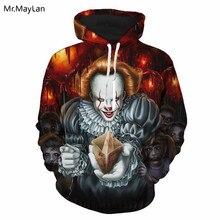 Cool Horror Movie Stephen Kings It Joker 3D Print Hoodies Men/Women Hipster Hooded Sweatshirts Hiphop Streetwear 2018 Clothes