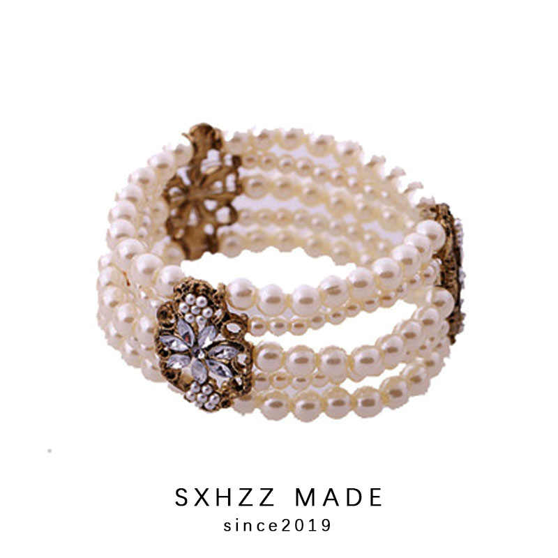 SXHZZ Elasticity Bracelet Simulated Pearl Multi-layer Beaded Charm Wide Cuff Bracelets Bangles For Women 2019 Jewelry