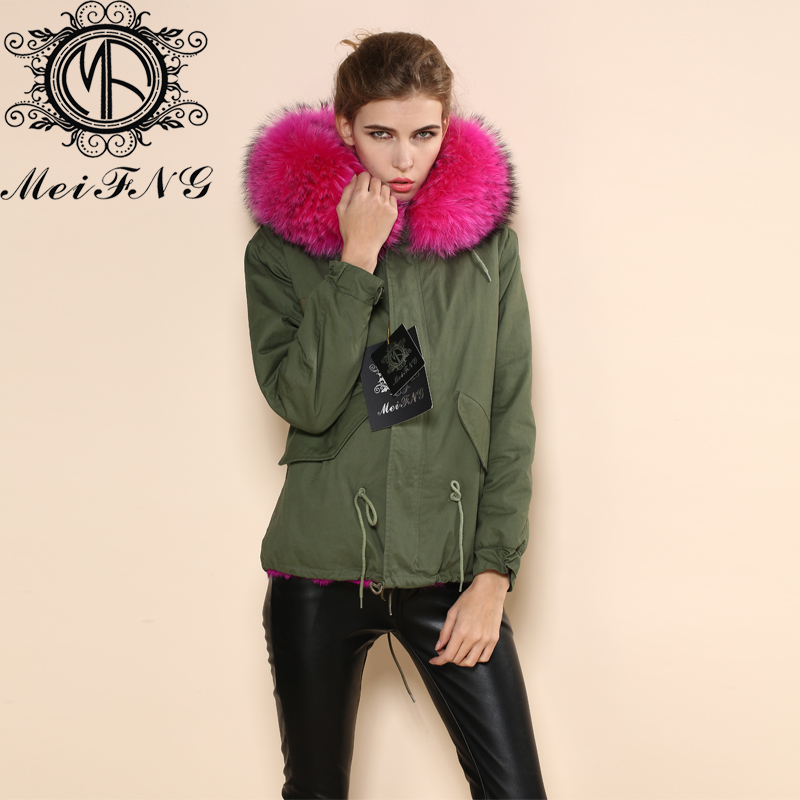 NEW Arrive raccoon Fur Collar Design Rose Red Winter Elegant ...