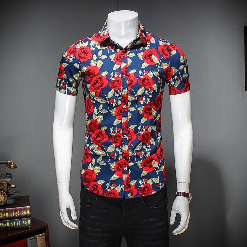 Quality Men Flower Shirt Summer Slim Fit New Men Casual Shirts Short Sleeve Turn Down Collar Floral Shirt For Men Brand Clothing