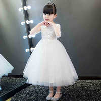 White Flower Girls Princess Dress Kids Party Pageant Christening Gowns Wedding Party Tulle Long Dresses Bridesmaid