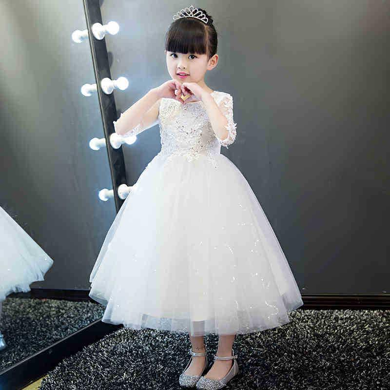 Fleur blanche filles robe de princesse enfants fête Pageant robes de baptême fête de mariage Tulle robes longues robe de demoiselle d'honneur Tutu
