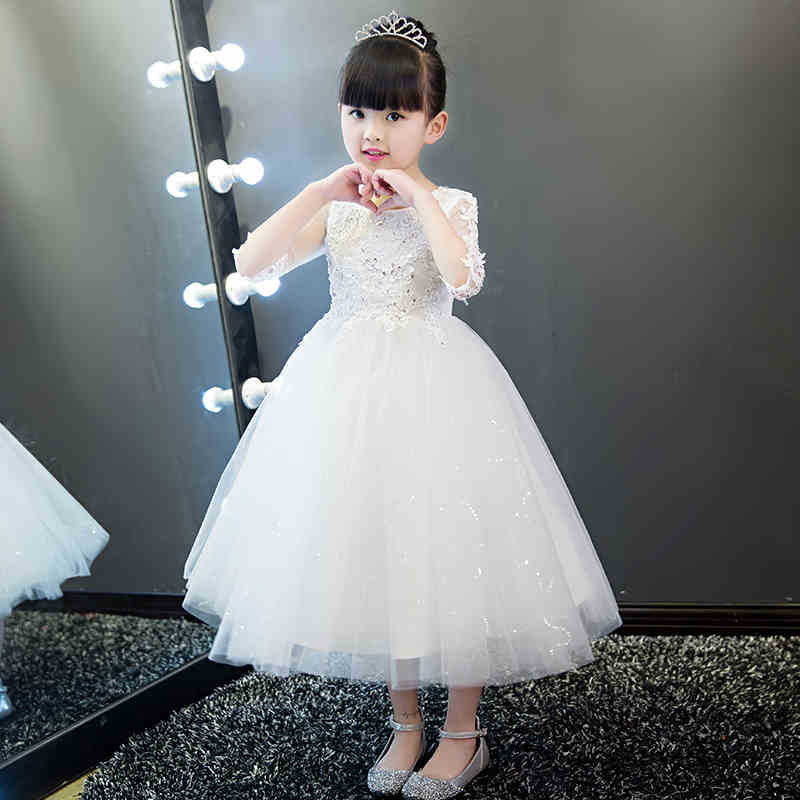 White Flower Girls Princess Dress Kids Party Pageant Christening Gowns Wedding Party Tulle Long Dresses Bridesmaid Tutu Dress kids girls long sleeve white girl flower dress pageant wedding party formal occasion bridesmaid wedding girls tulle dress