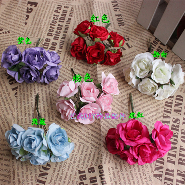 Us 0 71 28 Off 12 Pcs 2 5cm Paper Rose Flower Wedding Decoration Diy Wreath Gift Box Scrapbooking Craft Fake Flower In Artificial Dried Flowers