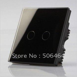 Remote Switch(Glass panel) Black 2 gang 2 way Wall Switch