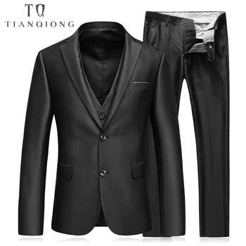 TIAN QIONG (Jackets+Pants+Vest) Slim Fit Suits Men Notch Lapel Business Wedding Groom Leisure Tuxedo Latest Coat Pant Designs - DISCOUNT ITEM  15% OFF All Category
