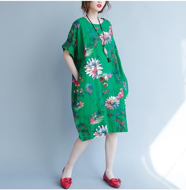 BelineRosa 2017 Big Sizes Women Clothing Bohemian Style Chinese Style Floral Printing Cotton Linen Dress 4XL 5XL HS000264 19