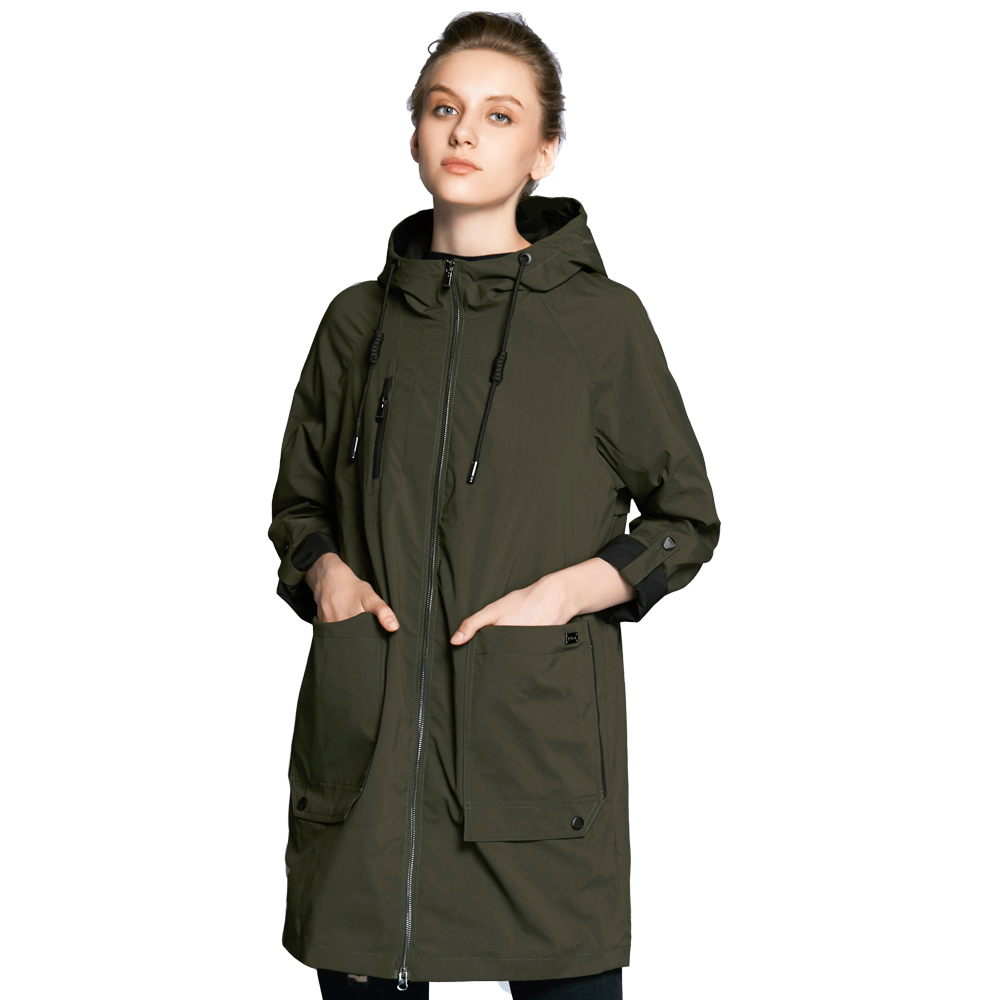 ICEbear 2018 new woman trench coat fashion with full sleeves design women coats autumn brand casual plus size coat GWF18006D blue plain lapel collar sleeveless trench coat