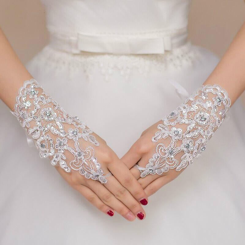 Blanco o marfil corto guantes para novia sin dedos para mujer novia rojo encaje guantes Luva De novia accesorios De boda