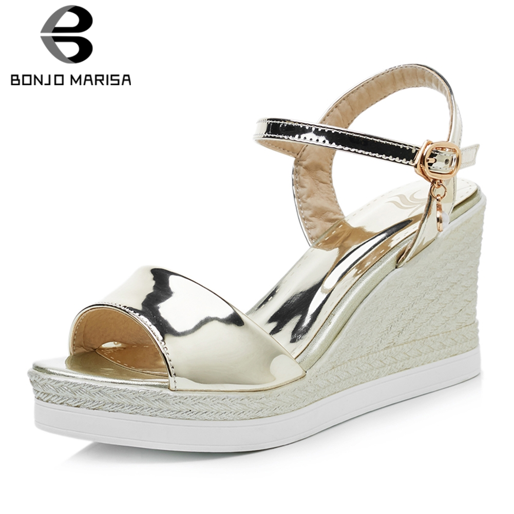 BONJOMARISA New Large Size 33-43 Metalic Platform Sandals Women 2019 Summer High Heels Wedges Shoes Woman