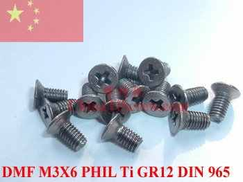 Paduan Titanium sekrup M3X6 DIN 965 1 # PHIL Sopir 12 pcs
