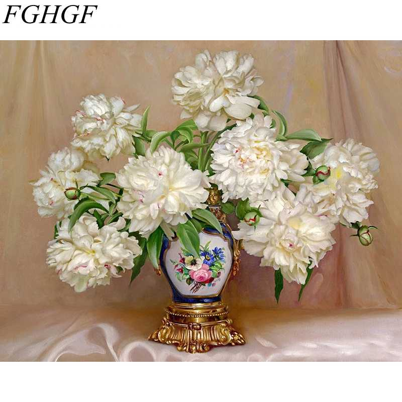 FGHGF Flower No Frame Pictures Painting By Numbers Home Decor For Living Room DIY Digital Canvas Oil Painting