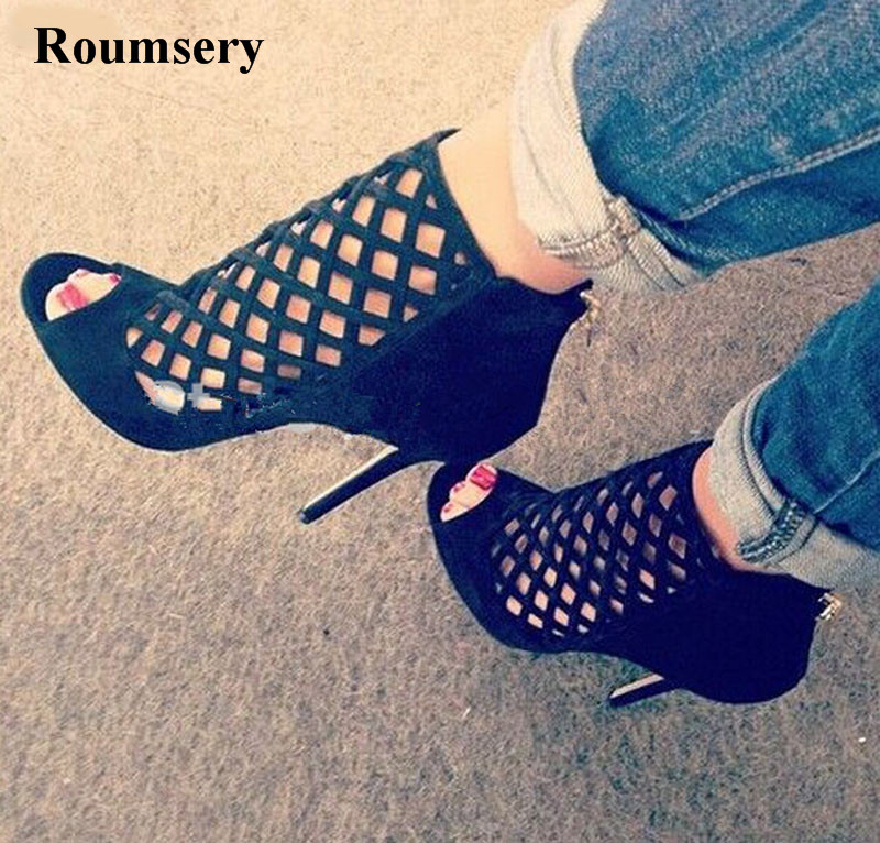High Quality Women Fashion Open Toe Black Suede Leather Gladiator Sandals Cut-out High Heel Sandals Formal Dress Shoes цена 2017