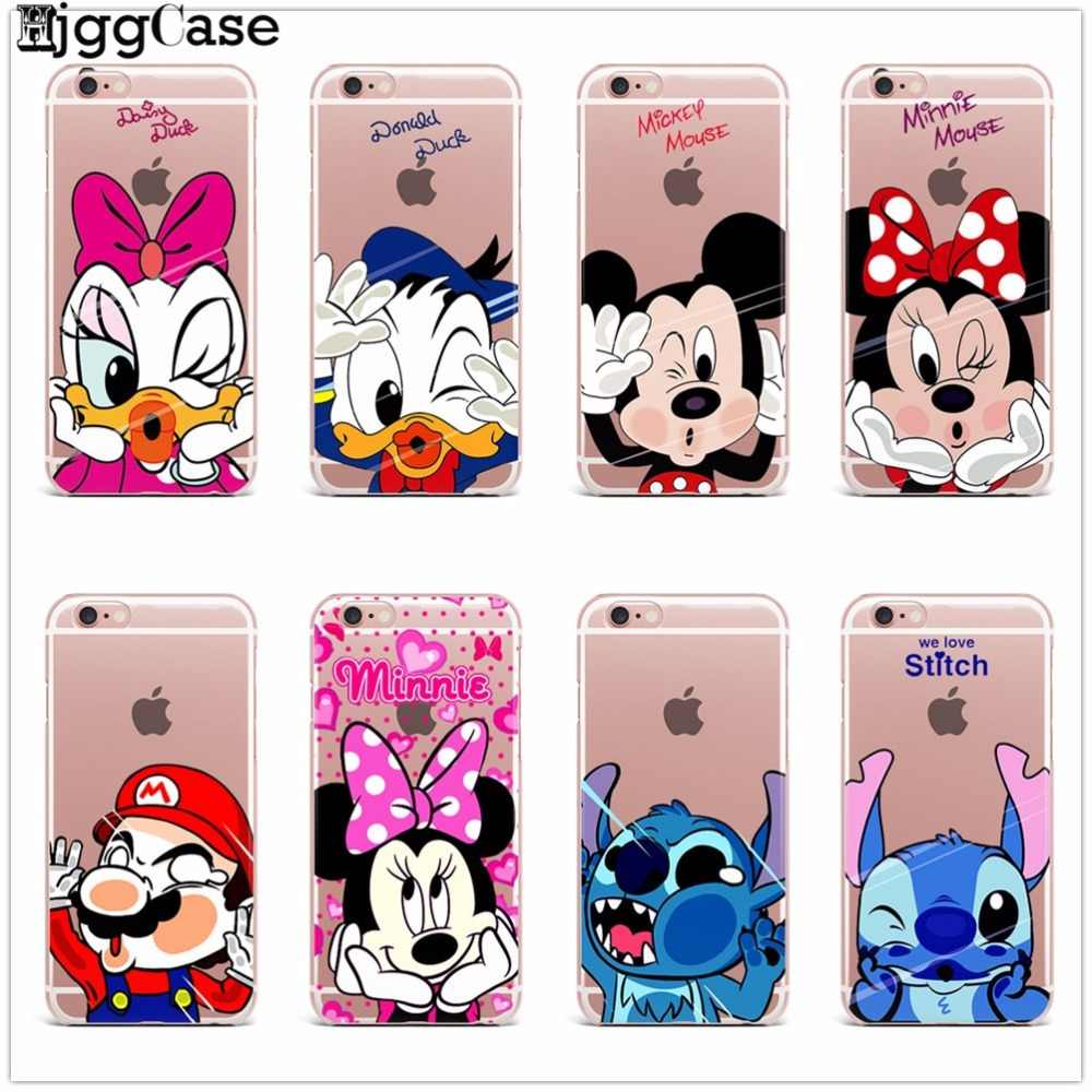 Telefoon TPU Zachte Voor iPhone X 5 5 S SE 6 6 s 7 Plus 8 Plus leuke Stitch Mickey Minnie Mouse Donald Daisy Duck Pooh Punt case