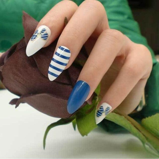 Women 24pcs French False Nail Fake Nails Tips Beauty Acrylic Full Artificial Tool Cover