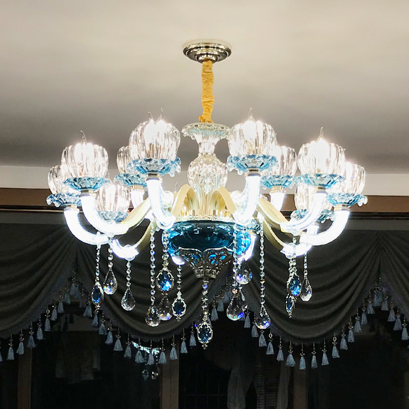 все цены на European Crystal Chandelier Living Room Bedroom Lamp Modern Restaurant Shop KTV Blue led Crystal Lamp Contemporary Chandeliers