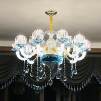 European Crystal Chandelier Living Room Bedroom Lamp Modern Restaurant Shop KTV Blue led Crystal Lamp Contemporary Chandeliers