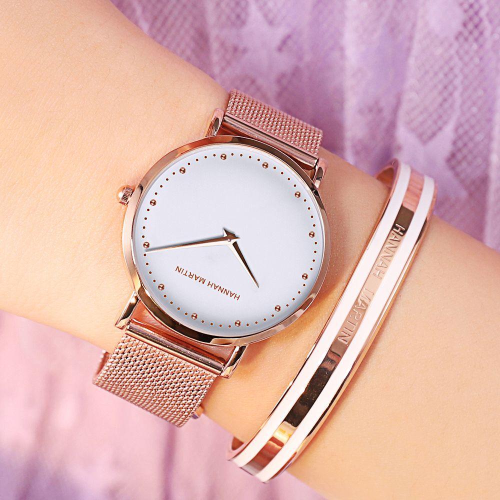 Hannah Martin Luxury Women Watches 2019 Rose Gold Mesh Steel Watch Ladies Bangle Female Wristwatches Bracelet Relogio Feminino