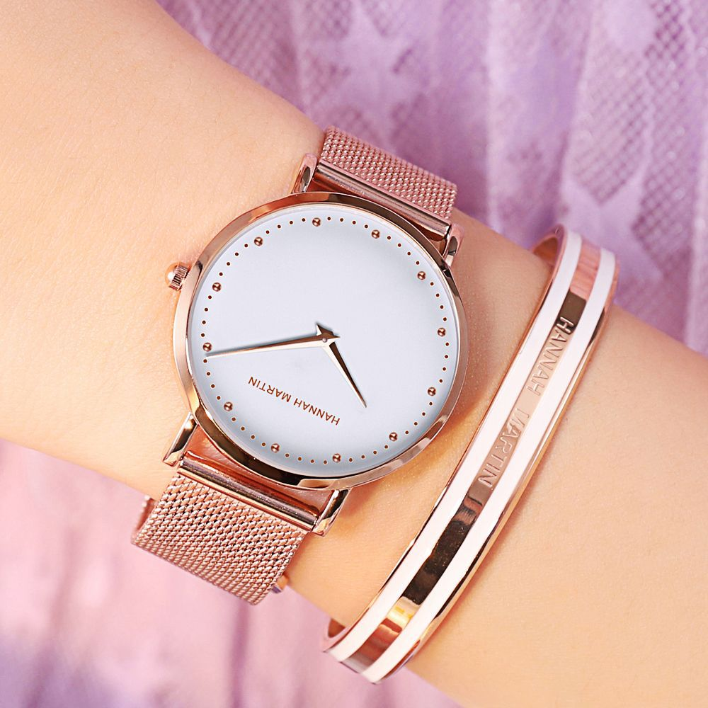 Hannah Martin Luxury Women Watches 2019 Rose Gold Mesh Steel Watch Ladies Bangle Female Wristwatches Bracelet Relogio Feminino