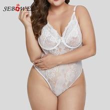 Lace Transparent Bodysuit Women Plus size Sleeveless Teddy Jumpsuits Body Tops Femme Bodysuits XL-5XL