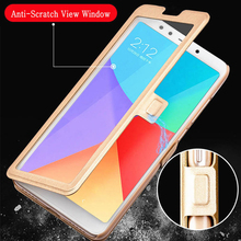 Open View Window Cover for LG Q6 Q7 Q8  fundas PU leather flip case for LG V10 V20 V30 G4 Pro protective case kickstand coque stylish grain protective flip open pu case w dual view window