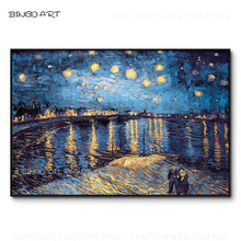 Top Artist Reproduce High Quality Van Gogh Starry Night Rhone River Scenery Oil Painting Hand-painted