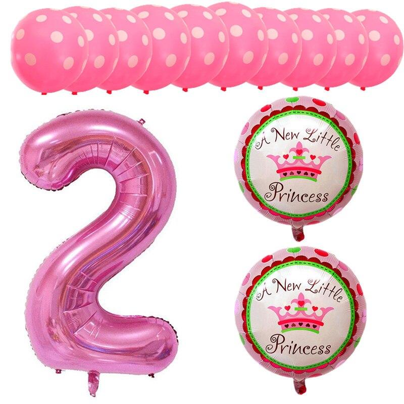 BINGTIAN 13 pink blue Mickey Minnie baby 2 year old child birthday balloon aluminum film Xenon latex party decorations