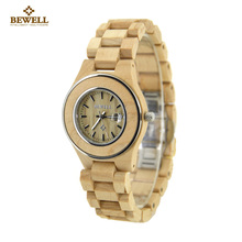 BEWELL Wood Watch Women Fashion Zebra Wooden Women Watches Display Date sports Ladies Quartz Watch Clock  saat relogio feminino