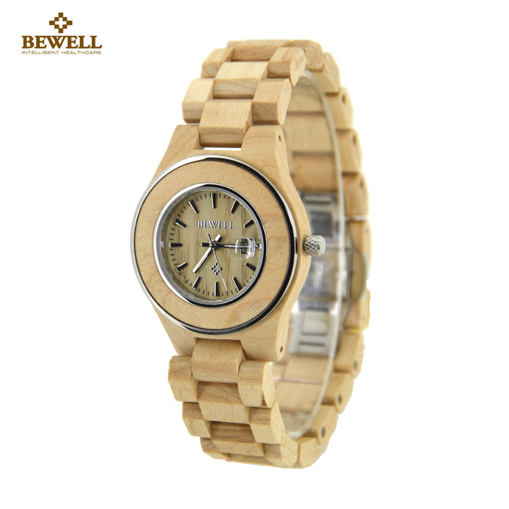 BEWELL Wood Watch Women Fashion Zebra Wooden Women Watches Display Date sports Ladies Quartz Watch Clock saat relogio feminino redear top brand wood watch men women wooden watches japan miyota fashion watch leather clock relogio feminino relogio masculino