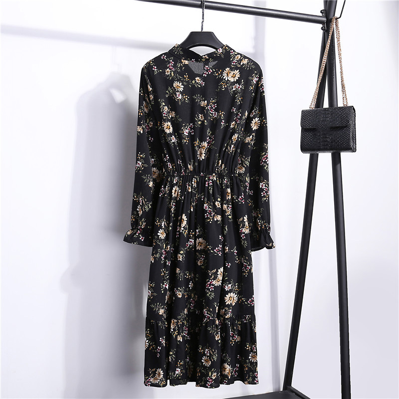 Summer Korean Chiffon Women Dress Elegant Ladies Vintage Long Dress Boho Floral Office Long Sleeve Vestidos Clothing 5LYQ003 47
