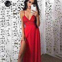 Lily Rosie Girl Split Lace Boho Sexy Casual Dress Deep V Neck Backless Beach Female Dress Red Maxi Summer Dress 2018 Vestidos